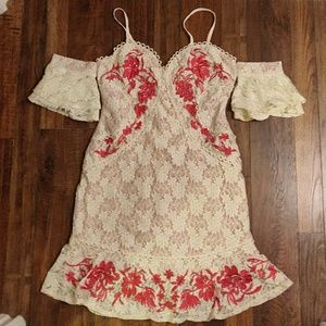 Lace embroidered off shoulder dress medium NWT